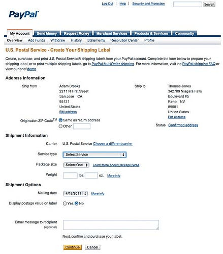 How to create PayPal shipping labels
