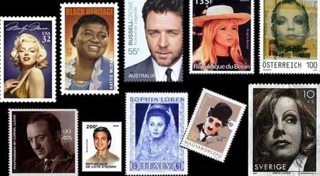 Who was the first actress to appear on a postage stamp