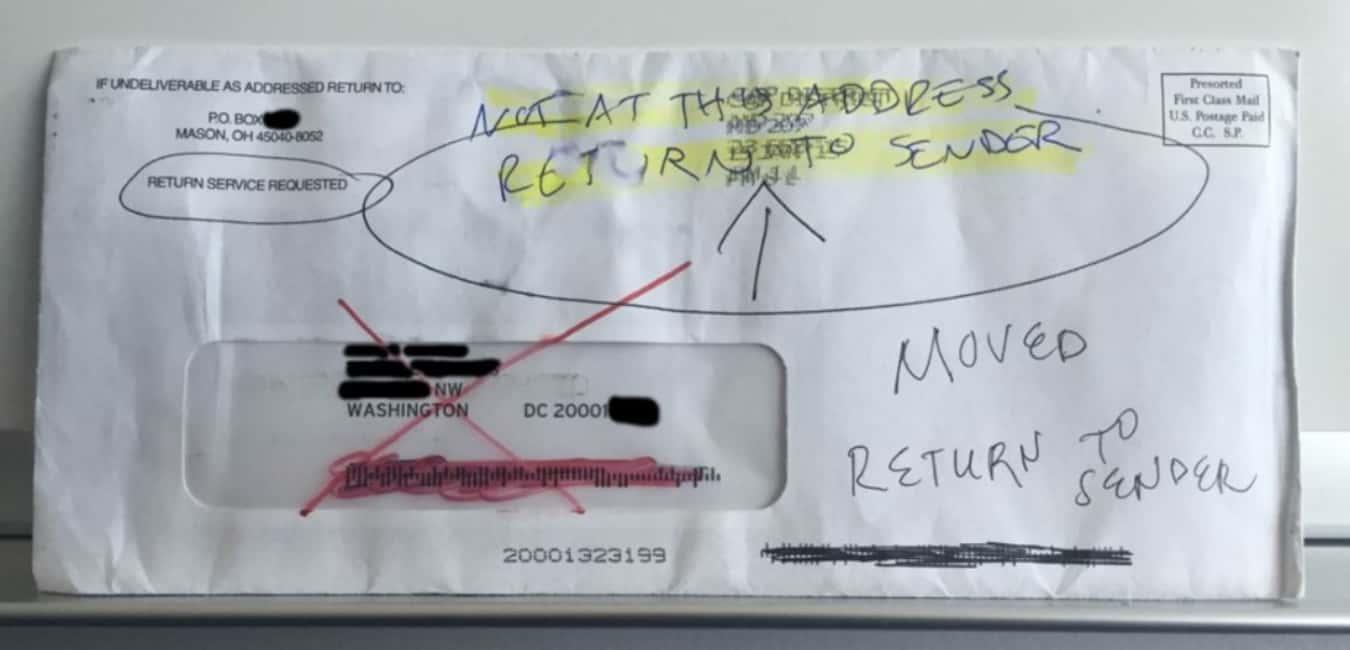 Return mail to sender Step by step